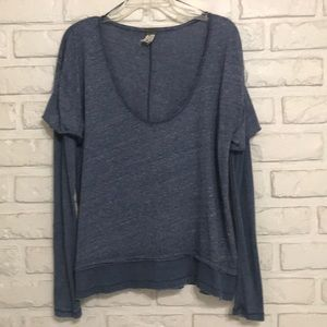 Free People layered look ribbed/cotton top